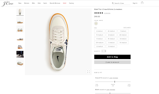 j crew product page