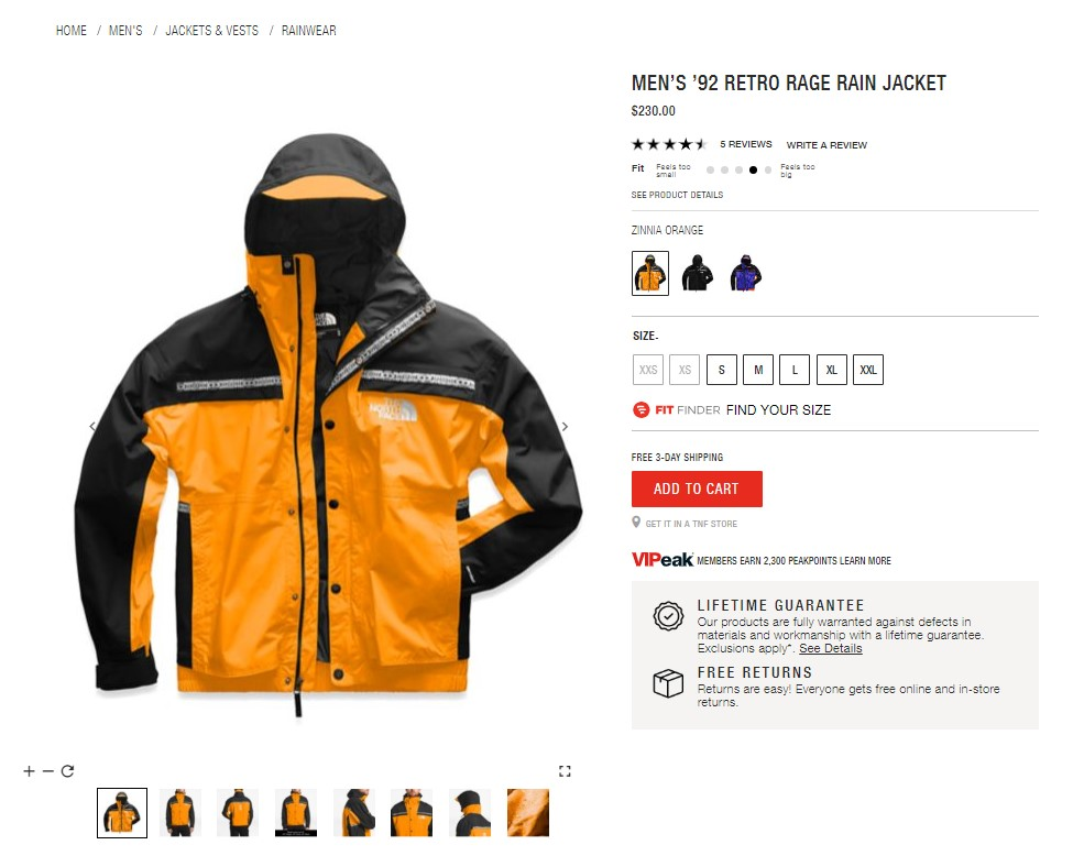 north face product page