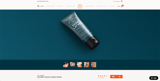 dollar shave club product page