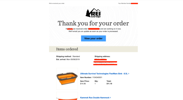 transactional email - order confirmation