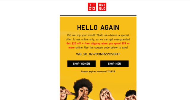 transactional email - win back email